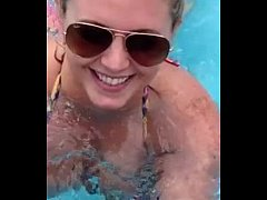 Blowjob In Public Pool By Blonde, Recorded On M...