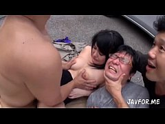 Japanese wife fucked by 2 men in both holes infront of the husband