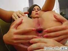 Ass Traffic Monica's first anal has two cocks up her butt. Facials