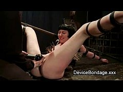 Clamped restrained brunette hard whipped