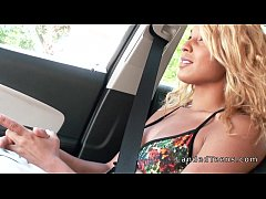 Gorgeous tanned blonde teen bangs in car