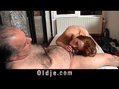 Horny freckled readhead girl gets old dick to clean her pussy