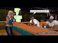 3D cartoon blonde babe gets both her hole ...