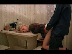 Sexy Russian Slut in Fishnet Fucked By her Neighbour on Table