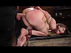 tied up busty brunette slave gagged and ass fucked with huge dick