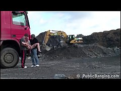 Cute young chick public sex threesome with 2 guys at a construction site