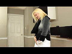 Blonde Tied Up With Rope And Made To Suck Dick