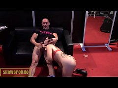 Spanish pornstars licking, blowing and fucking in stand
