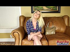 Clip sex Busty teen blonde masturbates on casting couch