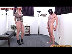 Blonde femdom amazon dominates in pantyhose