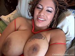 Chubby black babe with big tits