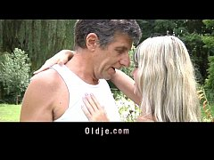 Blonde gets Anal with still good-looking Older