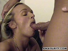 Busty amateur girlfriend threesome with cumshot
