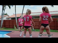 Hot foursome with football babes getting cocked