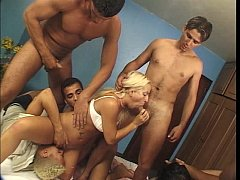 Horny chicks in the gang bang