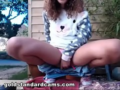 Goldstandardcams  found a video of my sister playing with herself outside - part 2