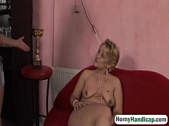 Amputee lesbian masturbates and gropes with brunette