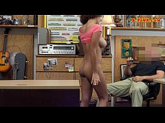 Ebony shows off ass and fucked by pawn guy at the pawnshop