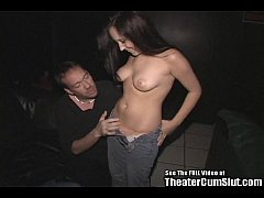 Shy ninteen year old Sierra pleasing an entire theater of men