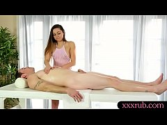 Pretty masseuse blowjobs under the table