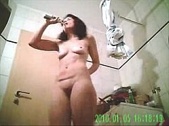 Hidden cam catches my mom in bath room before bed