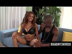 Ebony Hottie Katt Garcia Oils Up Her Large Boobs and Fucks a Big Black Cock