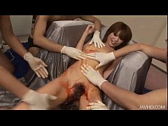 Rika in silver has her body abused by horny Japanese guys that love pinching her