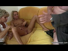 Naked blonde involved into family 3some