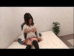 Cutie Momoka Amai on the bed with her horny boyfriend