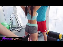 Fitness Rooms Hot Euro brunettes squirting threesome with gym coach