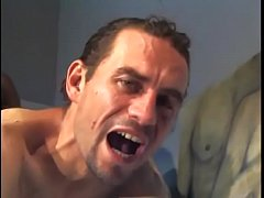 Black stud with a firm body pounds white dude's ass in bed