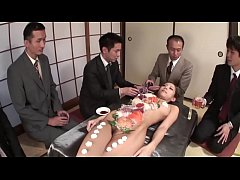 CAM2REAL.IR - business men eat sushi out of a naked girls body