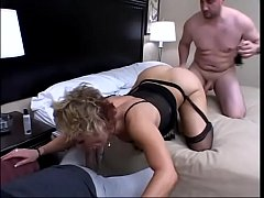 Kelly Leigh gets two long hard cocks shove in both holes at the same time in hotel bed