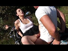 Chubby young babe got cum covered pussy from naughty biker