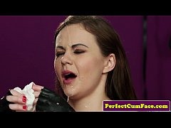 Leather fetish babe perfectly spunked on face