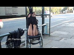 Paraprincess outdoor exhibitionism and flashing wheelchair bound babe showing