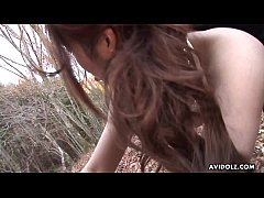 Raunchy Asian chick Ayumi Inamori rides a hairy rod outdoors