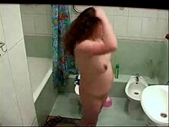 Hidden cam catches my chubby sister nude in bath room