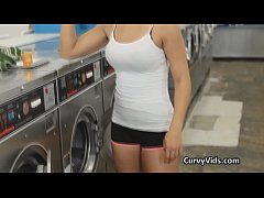 Teen fucks hard on the washing machines