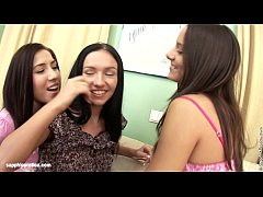 Three lesbian brunettes take turns licking each other by Sapphic Erotica