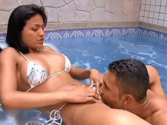 Brazilian hottie Anny Castro with big bristols takes hard pole in all her holes