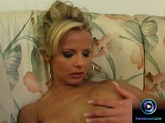 Enticing blonde Danielle loves playing with her privates