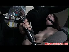 Gagged sub toyed in bdsm trio by masters