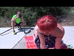 MyFirstPublic  Skinny tall redhead eat whole cock and all the cum outdoor