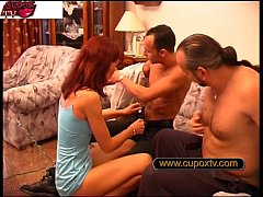 Redhead housewife in threesome
