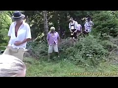 wild lederhosen gangbang party in nature