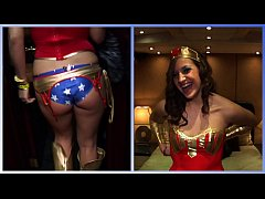GIRLS GONE WILD - Hot Brunette In Sexy Superhero Cosplay Plays With Her Wet Pussy