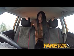 Fake Driving School pov shots students pussy swallows up all the cum