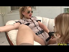 threesome with femdom and submissive blonde - fhuta