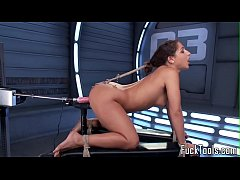 HD Restrained babe pussy toyed by dildo machine